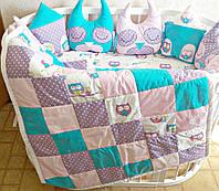 """Набор постельного белья """"Совушки и домики"""" дизайнерский 6-в-1, бирюзово-фиолетовый"""
