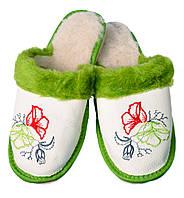"""Тапочки домашние женские кожаные """"Цветы"""" бело-салатовые"""