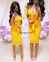 """Женское платье с карманами (желтый) """"Margaret""""  42-44 единый"""