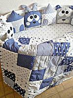 """Набор постельного белья """"Олени и мишки"""" дизайнерский 6-в-1, синий"""