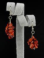 30х18 мм. Серьги с натуральным камнем Яшма из каменной крошки форма: галтовка украшение №035219