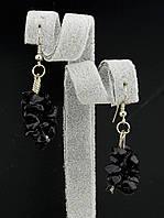 30х18 мм. Серьги с натуральным камнем Агат из каменной крошки форма: галтовка украшение №035227