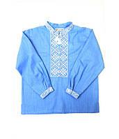Блакитна вишита сорочка з натуральної тканини для хлопчика 146р f20c07399c2aa