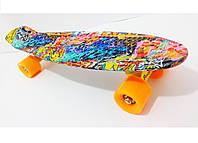"Скейт Пенни борд Penny Board Style Nickel LUX 28"" с рисунком Cool Draft + гравировки ""Penny"""