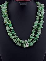 Бусы с нефритом крошка камня, Зеленый длинные украшения из натурального камня № 036446