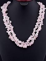 Бусы с розовым кварцем крошка камня, Розовый длинные 120 см украшения из натурального камня № 036447