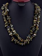 Бусы с лабрадором крошка камня, Хаки длинные 120 см украшения из натурального камня № 036453