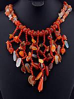 Ожерелье с сердоликом крошка камня, Коричневый ожерелье-колье украшения из натурального камня № 036466