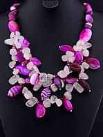 Бусы с агатом Розовый кварц разные вставки, несколько рядов украшения из натурального камня № 036460