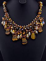 Ожерелье с тигровым глазом крошка камня, Коричневый 50 см украшения из натурального камня № 036461