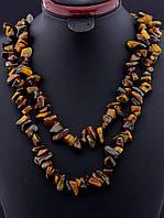 Бусы с тигровым глазом крошка камня, Коричневый длинные 120 см украшения из натурального камня № 036512
