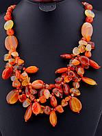 Ожерелье с сердоликом галтовкой, Коричневый ожерелье-бусы украшения из натурального камня № 036462