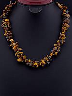 Бусы с тигровым глазом крошка камня, Коричневый классические украшения из натурального камня № 036531