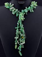 Колье с нефритом крошка камня, Зеленый с кисточкой украшения из натурального камня № 036480