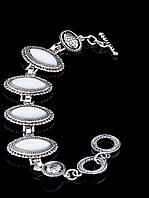 Браслет с белым перламутром маркиз, Белый женские украшения из натурального камня № 036623