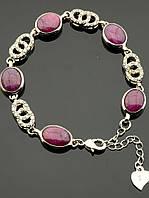 Браслет с рубином овальная вставка, Розовый женские украшения из натурального камня № 036700