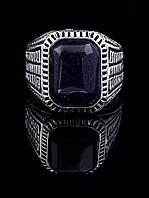 Перстень с авантюрином прямоугольной формы, гипоаллергенный сплав украшения с искусственным камнем № 037855-185