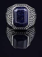 Перстень с авантюрином прямоугольной формы, гипоаллергенный сплав украшения с искусственным камнем № 037859-200