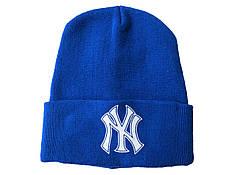 Шапка мужская осень-зима синего цвета с отворотом спортивного типа