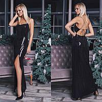 Платье из пайетки с открытой спиной черное,серебро