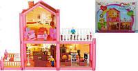 Домик (30шт)  2-этаж,97деталей,фигурки,кровать,игровая,кресла,диван,шкаф,балкон..., в кор.