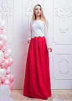 Стильный женский костюм с юбкой-макси и кружевным топом