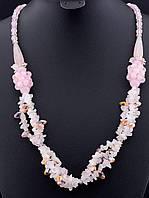 039802 Бусы из натурального камня Розовый кварц 60 см.
