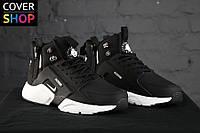 Кроссовки в стиле Nike Air Huarache - ACRONYM Original, черно - белые, материал - кожа, подошва - пенка