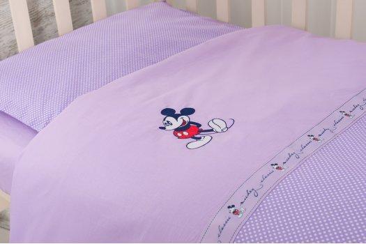 Постельное белье в кроватку Горошек сиреневый
