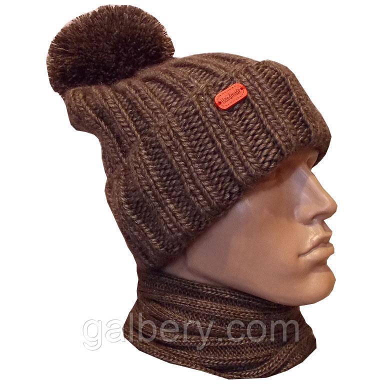 мужская вязаная шапка объемной ручной вязки с помпоном продажа