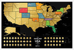 Скретч Карта The Travel Map of the USA Black