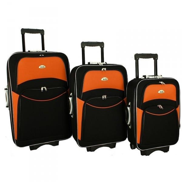 Чемодан сумка 773 набор 3 штуки черно-оранжевый