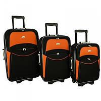 Чемодан сумка 773 набор 3 штуки черно-оранжевый, фото 1