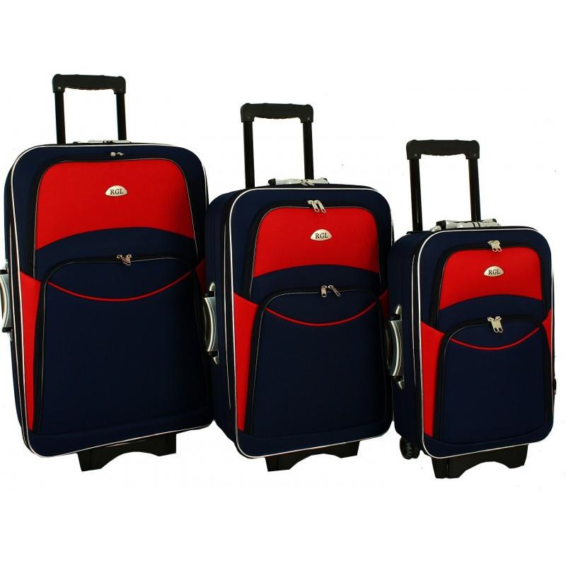 Чемодан сумка 773 набор 3 штуки сине-красный