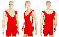 Трико для борьбы и тяжелой атлетики, пауэрлифтинга  красный (бифлекс, р-р M-XL (RUS 46-52))