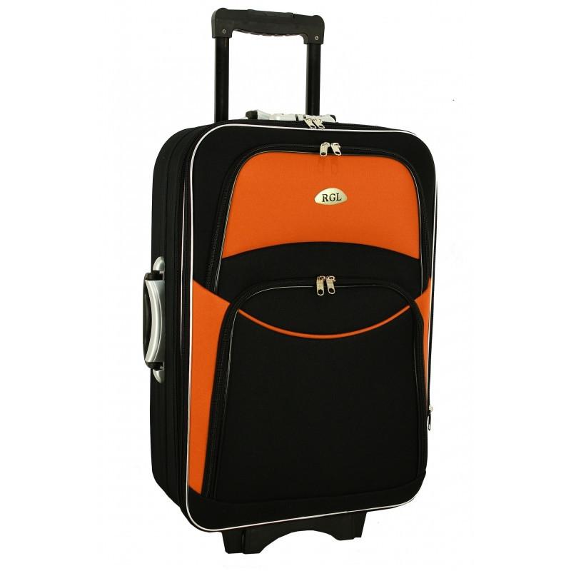 Чемодан сумка 773 (небольшой) черно-оранжевый