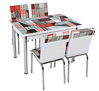 """Комплект кухонный стол и стулья """"CB_003"""" МДФ каленое стекло 70*110 (Лотос-М)"""