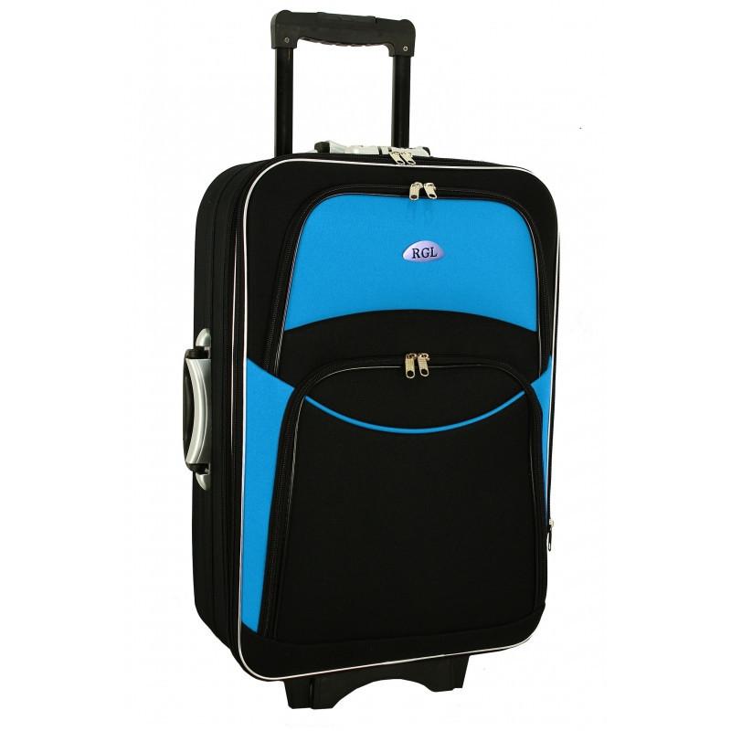 Дорожный Чемодан на колесах 773 (средний) черно-голубой