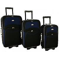Валіза сумка 773 набір 3 штуки чорно-т. синій, фото 1