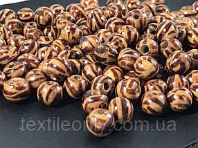 Дерев'яні намистини тигрові візерунки 9 мм упаковка 100 шт