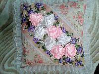 Очень нежная оригинальная подушка50*50 розы винтаж