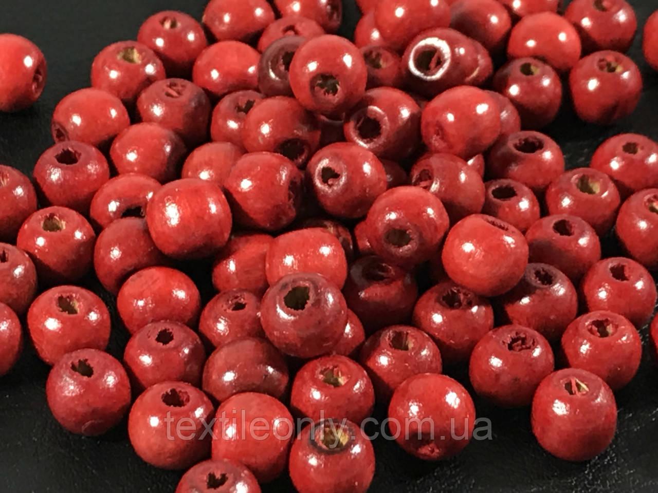 Деревянные бусины красные 7.5 мм упаковка 100 шт