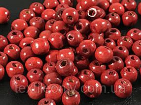 Дерев'яні намистини червоні 7.5 мм упаковка 100 шт