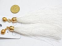 Серьги Кисточки, Золото, Цинковый сплав, Текстиль, Белый