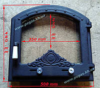 Дверца чугунная с жаропрочным стеклом (480х500) печи, барбекю, камин, грубу