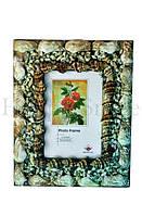 Рамка для фото с ракушками коричневая / подарок для сестры Код:9864482