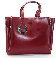 Превосходная женская сумочка CELINE из натуральной кожи бордового цвета NNH-812144
