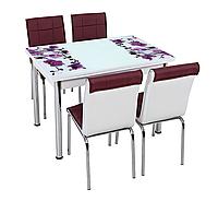 """Комплект кухонный стол и стулья """"CB_026"""" МДФ каленое стекло 70*110 (Лотос-М)"""