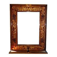 Зеркало в деревянной раме ''Виноградная гроздь''с полочкай