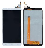 Дисплей (экран) для Alcatel 6050Y One Touch Idol 2S/6050D + с сенсором (тачскрином) белый Оригинал